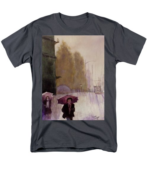 Men's T-Shirt  (Regular Fit) featuring the painting Walking In The Rain by Dan Wagner