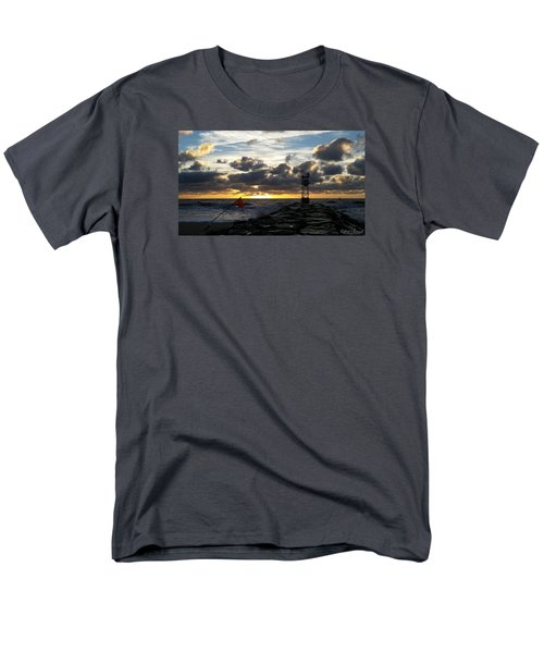 Men's T-Shirt  (Regular Fit) featuring the photograph Warning Flag At Sunrise by Robert Banach