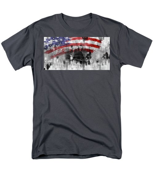 Men's T-Shirt  (Regular Fit) featuring the painting Washington Dc Building 01a by Gull G