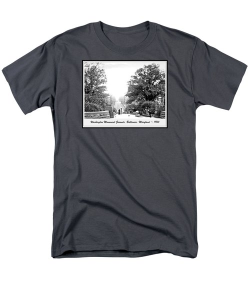 Men's T-Shirt  (Regular Fit) featuring the photograph Washington Monument Grounds Baltimore 1900 Vintage Photograph by A Gurmankin