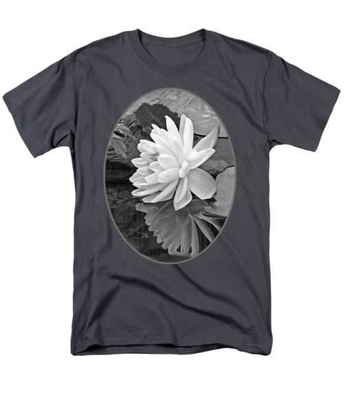 Water Lily Reflections In Black And White Men's T-Shirt  (Regular Fit) by Gill Billington