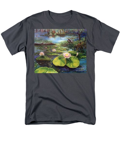 Men's T-Shirt  (Regular Fit) featuring the painting Waterlilies by Renate Nadi Wesley