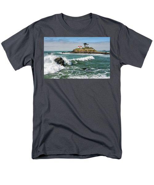 Men's T-Shirt  (Regular Fit) featuring the photograph Wave Break And The Lighthouse by Greg Nyquist