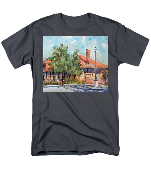 Men's T-Shirt  (Regular Fit) featuring the painting Waxachie Train Station by Ron Stephens