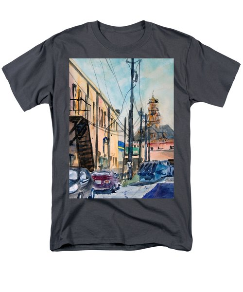 Men's T-Shirt  (Regular Fit) featuring the painting Waxahachie Back Alley by Ron Stephens