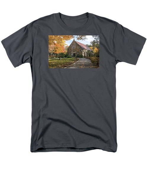 Men's T-Shirt  (Regular Fit) featuring the photograph West Parish Chapel In Fall, Andover, Ma by Betty Denise