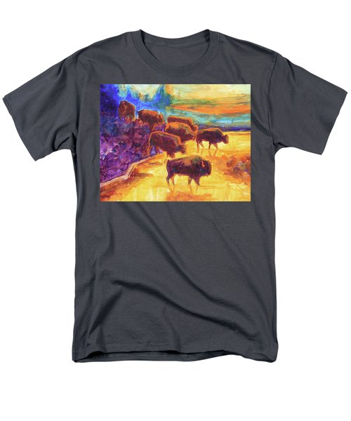 Western Buffalo Art Bison Creek Sunset Reflections Painting T Bertram Poole Men's T-Shirt  (Regular Fit) by Thomas Bertram POOLE