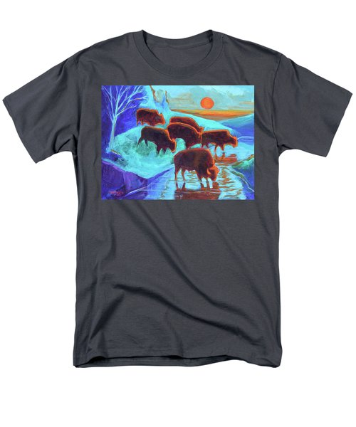 Western Buffalo Art Six Bison At Sunset Turquoise Painting Bertram Poole Men's T-Shirt  (Regular Fit) by Thomas Bertram POOLE