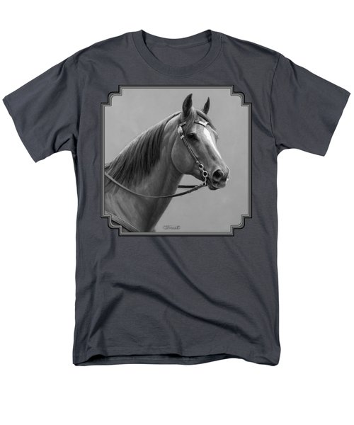 Western Quarter Horse Black And White Men's T-Shirt  (Regular Fit) by Crista Forest