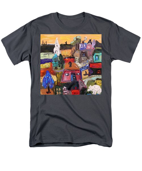 Men's T-Shirt  (Regular Fit) featuring the painting White Horse In The Village Field by Mary Carol Williams