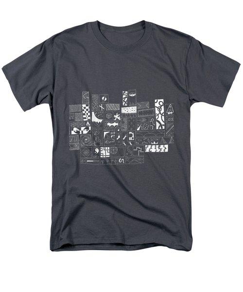 White On Black Abstract Art Men's T-Shirt  (Regular Fit) by Edward Fielding