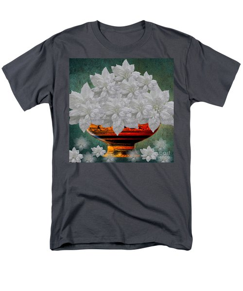 White Poinsettias In A Bowl Men's T-Shirt  (Regular Fit) by Saundra Myles