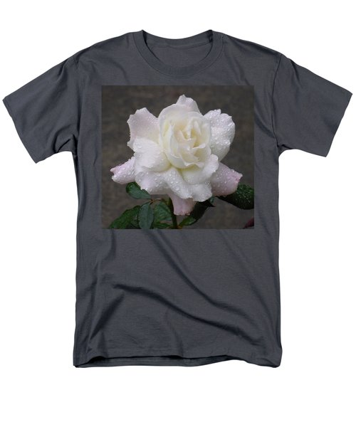 White Rose In Rain - 3 Men's T-Shirt  (Regular Fit) by Shirley Heyn