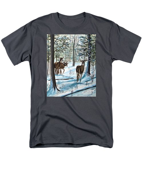 Men's T-Shirt  (Regular Fit) featuring the painting White Tail Deer In Winter by Patricia L Davidson