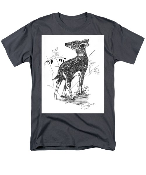 White-tail Fawn -pen And Ink Men's T-Shirt  (Regular Fit) by Doug Kreuger