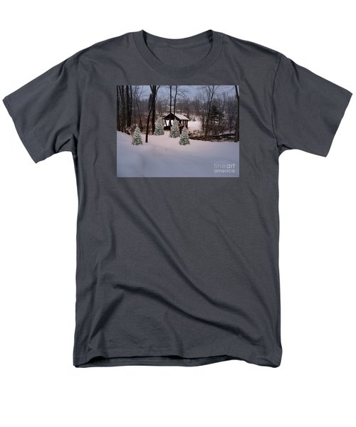 White Tailed Buck At Belmont N H Covered Bridge Men's T-Shirt  (Regular Fit) by Mim White