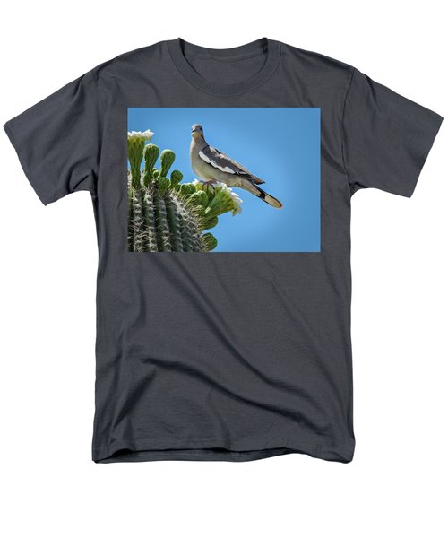 White Winged Dove On Cactus Flower Men's T-Shirt  (Regular Fit) by Penny Lisowski