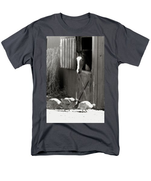 Men's T-Shirt  (Regular Fit) featuring the photograph Why Did The Guinea Hen Cross The Road - Sepia by Angela Rath