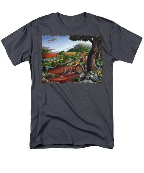 Wild Turkeys Appalachian Thanksgiving Landscape - Childhood Memories - Country Life - Americana Men's T-Shirt  (Regular Fit)