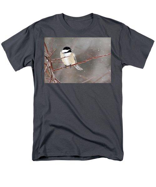 Windblown Chickadee Men's T-Shirt  (Regular Fit) by Debbie Oppermann
