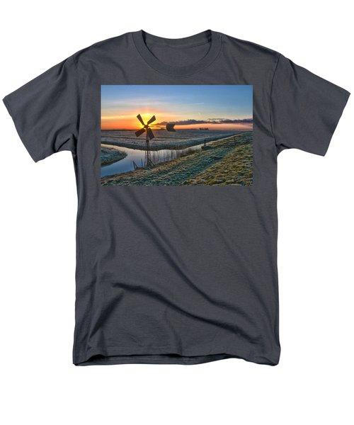 Windmill At Sunrise Men's T-Shirt  (Regular Fit) by Frans Blok