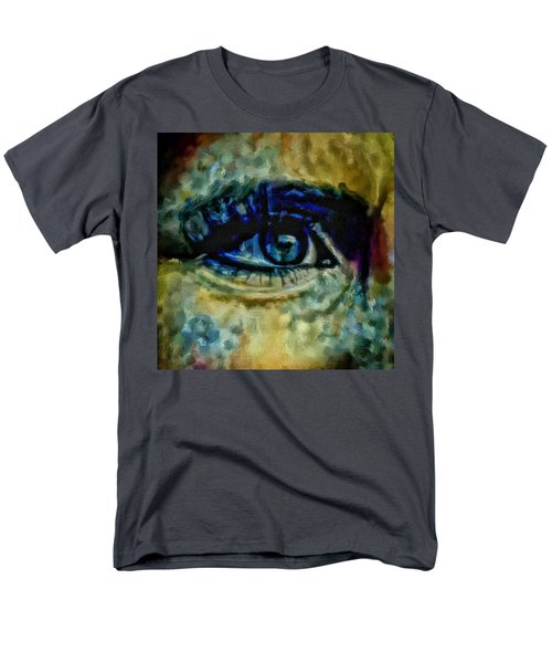 Men's T-Shirt  (Regular Fit) featuring the painting Windows Into The Soul Eye Painting Closeup All Seeing Eye In Blue Pink Red Magenta Yellow Eye Of Go by MendyZ