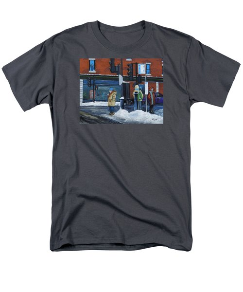 Winter Bus Stop Men's T-Shirt  (Regular Fit) by Reb Frost