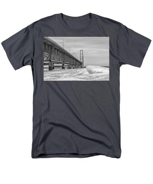 Men's T-Shirt  (Regular Fit) featuring the photograph Winter Icy Mackinac Bridge  by John McGraw
