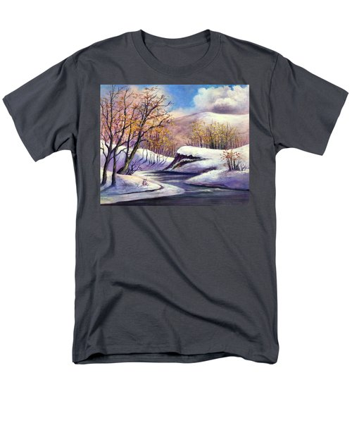 Men's T-Shirt  (Regular Fit) featuring the painting Winter In The Garden Of Eden by Randol Burns