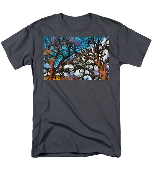Men's T-Shirt  (Regular Fit) featuring the photograph Winter Trees At Fort Tejon Lebec California Abstract by Floyd Snyder