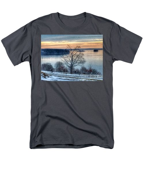 Winter Twilight At Fort Allen Park Men's T-Shirt  (Regular Fit) by Patricia E Sundik