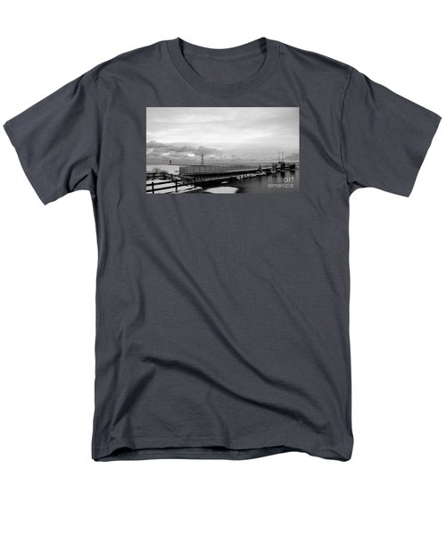 Men's T-Shirt  (Regular Fit) featuring the photograph Winter's Icy Grip On Lighthouse Ann Arbor Park by Mark J Seefeldt