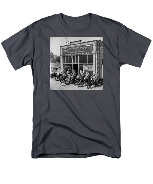 Men's T-Shirt  (Regular Fit) featuring the photograph The Motor Maids Of America Outside The Shop They Used As Their Headquarters, 1950. by Lawrence Christopher