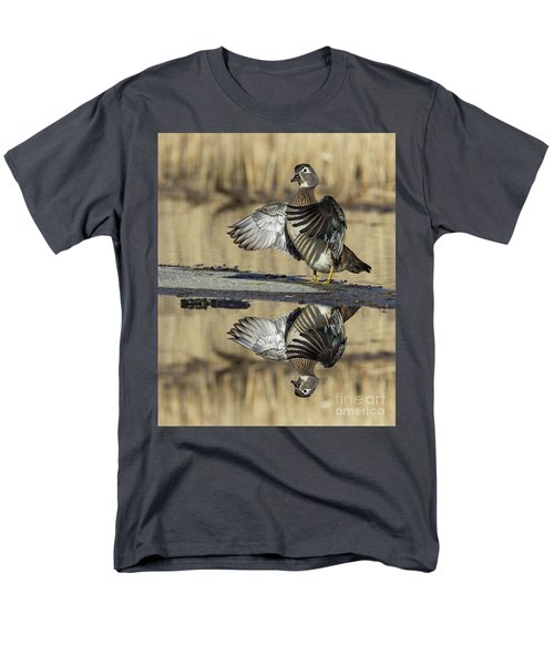 Men's T-Shirt  (Regular Fit) featuring the photograph Wood Duck Reflection by Mircea Costina Photography