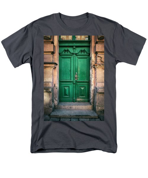 Wooden Ornamented Gate In Green Color Men's T-Shirt  (Regular Fit) by Jaroslaw Blaminsky