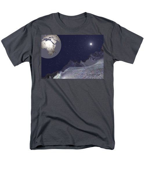 Men's T-Shirt  (Regular Fit) featuring the digital art 1657 - Worlds - 2017 by Irmgard Schoendorf Welch