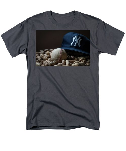 Men's T-Shirt  (Regular Fit) featuring the photograph Yankee Cap Baseball And Peanuts by Terry DeLuco