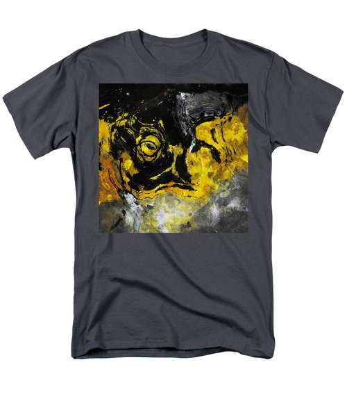 Men's T-Shirt  (Regular Fit) featuring the painting Yellow And Black Abstract Art by Ayse Deniz