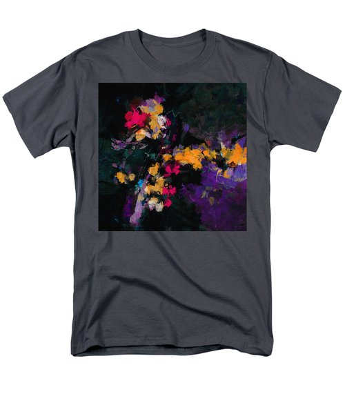 Men's T-Shirt  (Regular Fit) featuring the painting Yellow And Purple Abstract / Modern Painting by Ayse Deniz
