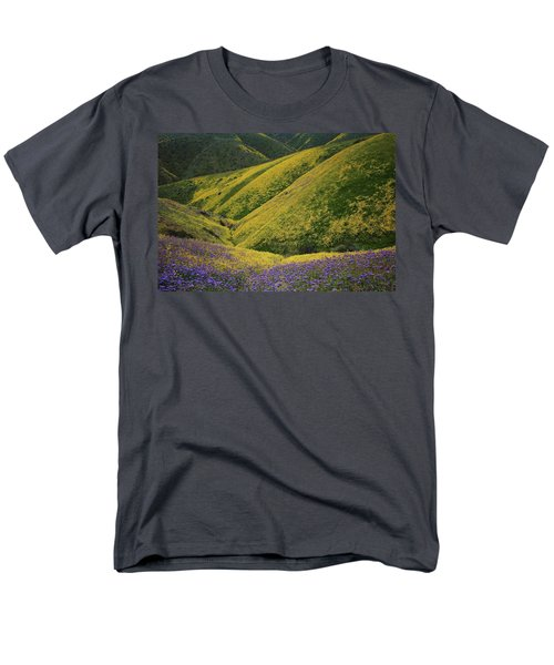 Yellow And Purple Wildlflowers Adourn The Temblor Range At Carrizo Plain National Monument Men's T-Shirt  (Regular Fit) by Jetson Nguyen