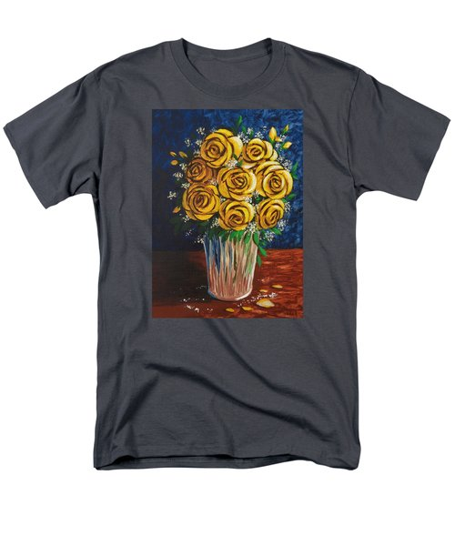 Men's T-Shirt  (Regular Fit) featuring the painting Yellow Roses by Katherine Young-Beck