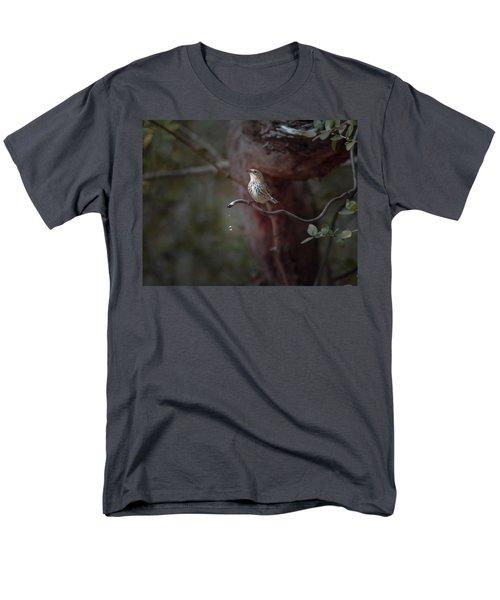 Yellow-rumped Warbler At Water Spout Men's T-Shirt  (Regular Fit) by Debra Martz