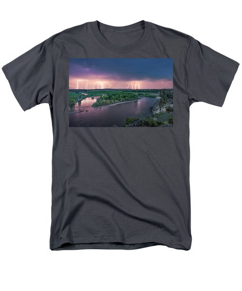 Yellowstone River Lightning Men's T-Shirt  (Regular Fit) by Leland D Howard