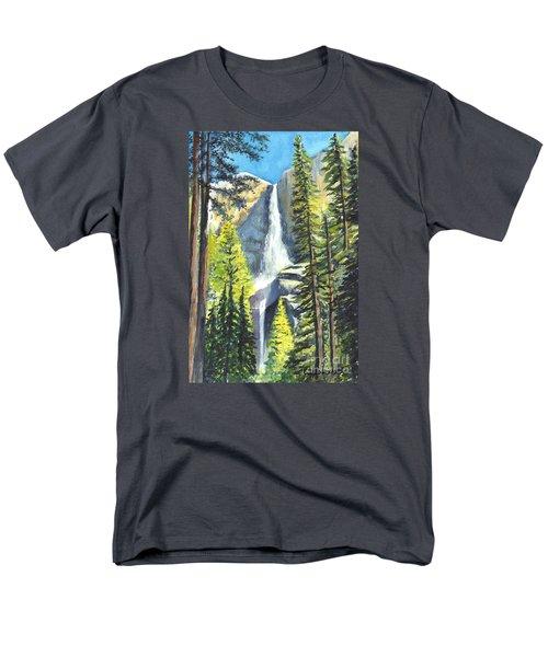 Yosemite Falls Watercolor Painting Men's T-Shirt  (Regular Fit) by Carol Wisniewski