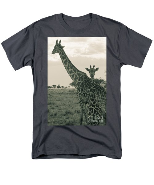 Young Giraffe With Mom In Sepia Men's T-Shirt  (Regular Fit) by Darcy Michaelchuk