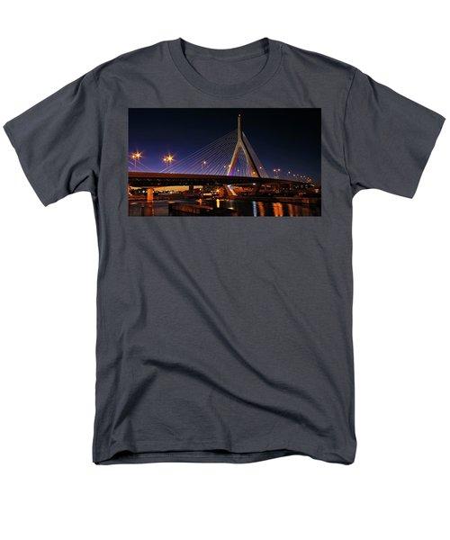 Zakim Bridge Boston Massachusetts At Night Men's T-Shirt  (Regular Fit) by Betty Denise