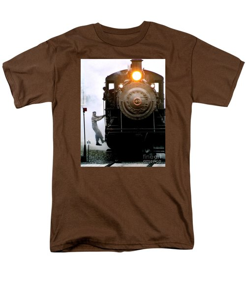 All Aboard The Number 40 At New Hope Pennsylvania Train Terminal Men's T-Shirt  (Regular Fit) by Michael Hoard