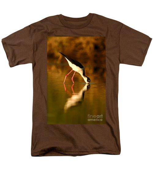 Men's T-Shirt  (Regular Fit) featuring the photograph  Black-necked Stilt Reflection by John F Tsumas
