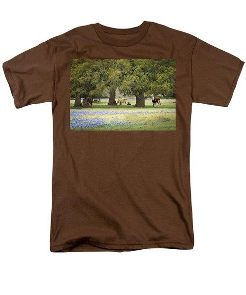 Bluebonnets And Bovines Men's T-Shirt  (Regular Fit) by Debbie Karnes