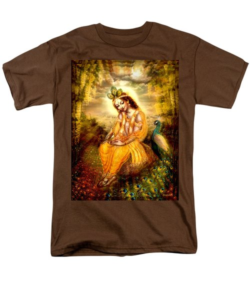 Men's T-Shirt  (Regular Fit) featuring the mixed media Krishna With The Peacock by Ananda Vdovic